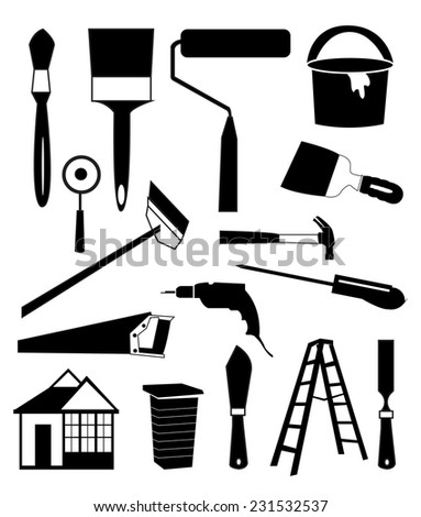 House repair tools icons set - stock vector