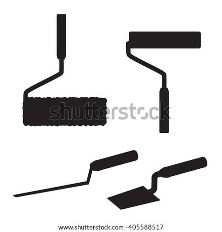 House repairs tools. Joint filler, paint roller, square trowel, wallpaper roller. Tools for repair. Tools for painting, wall papers, joint filling. House repairing. Silhouettes of repair tools. - stock vector