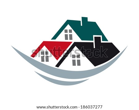 House roofs symbol for real estate logo or construction industry design - stock vector