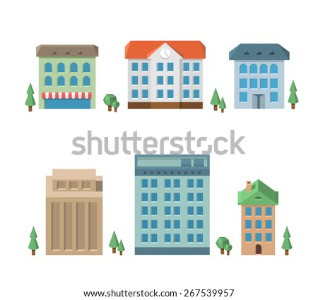 House set. Architecture apartment icons, building residential, business multistory, vector illustration - stock vector