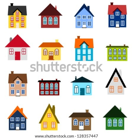 House set - colourful home icon collection. Illustration group. Private residential architecture. - stock vector