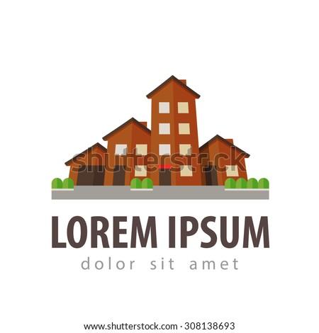 house, settlement, village, township vector logo design template. building or construction icon - stock vector
