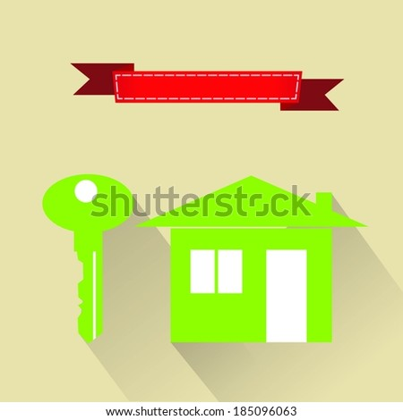 House shaped key-chain - stock vector