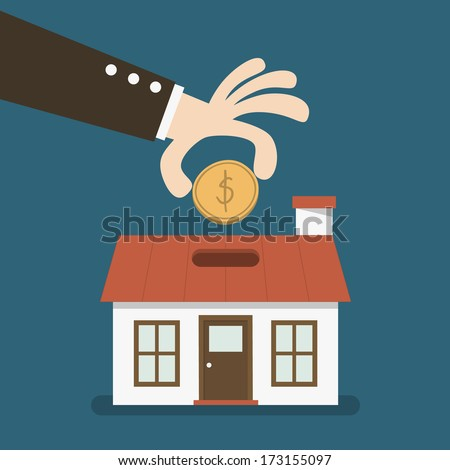 House shaped piggy bank - stock vector