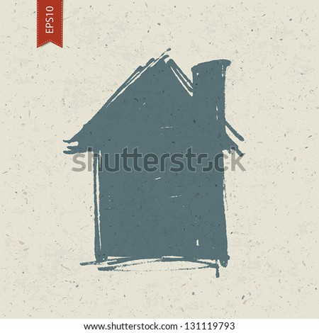 House sign on paper texture. Vector, EPS10 - stock vector