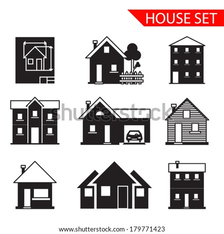 house silhouette icons set isolated vector - stock vector
