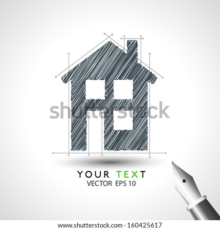 house sketch project icon in vector format - stock vector
