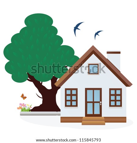 House. Summer. Vector illustration - stock vector