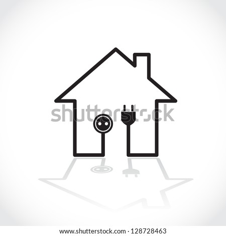 House symbol as simple electricity circuit - illustration - stock vector