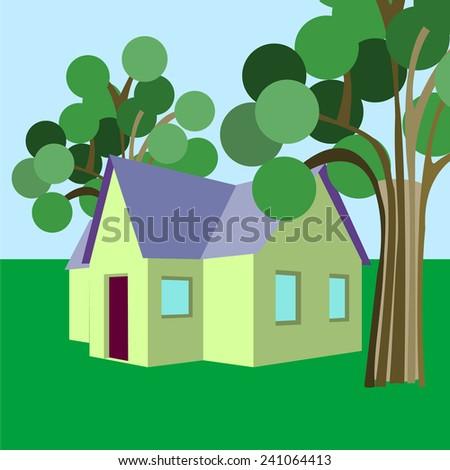 house tree House - stock vector