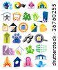 House vector Icons for Web. Construction or Real Estate concept. Abstract color element set of corporate templates. Just place your own brand name. Collection 13. - stock vector
