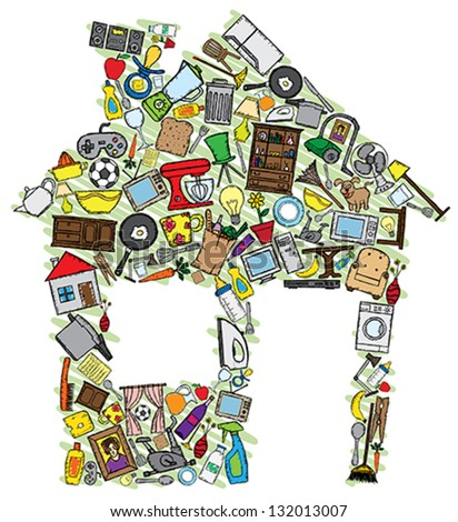 House vector illustration made with several home related doodles. - stock vector