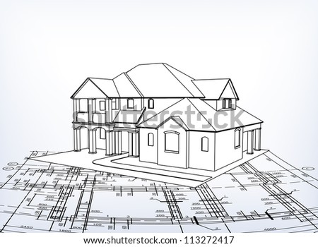 House. Vector technical draw - stock vector