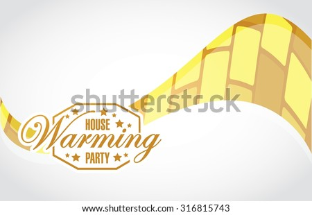 house warming party gold wave background sign illustration design graphic - stock vector