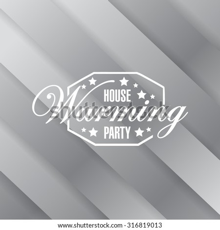 house warming party metallic card background sign illustration design graphic - stock vector
