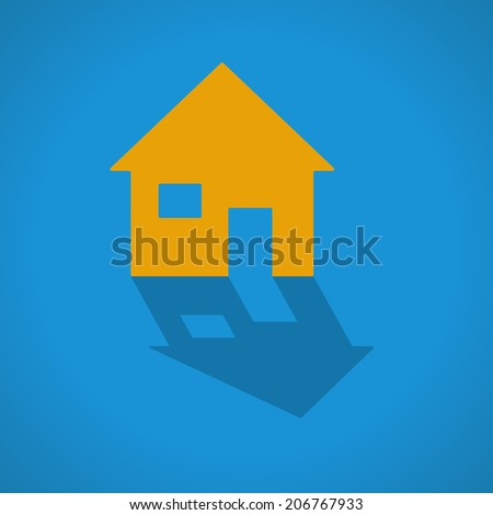 House web icon with shadow - stock vector