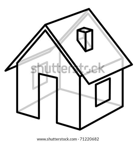 House. Wire-frame model. Vector illustration. - stock vector