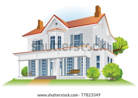 House with bushes, tree and grass. - stock vector
