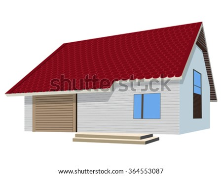 house with ceramic tiles roof over white background, abstract vector art illustration - stock vector