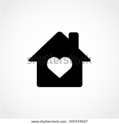 House with Heart Icon Isolated on White Background - stock vector