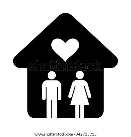 House with heart simple icon isolated on white background - stock vector
