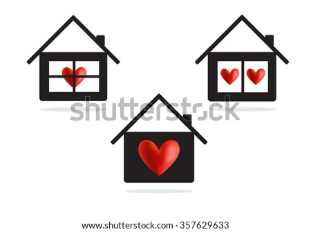 House with heart vector icon, concept background - stock vector