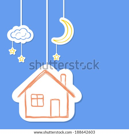 House with moon, stars and clouds in doodle style - stock vector