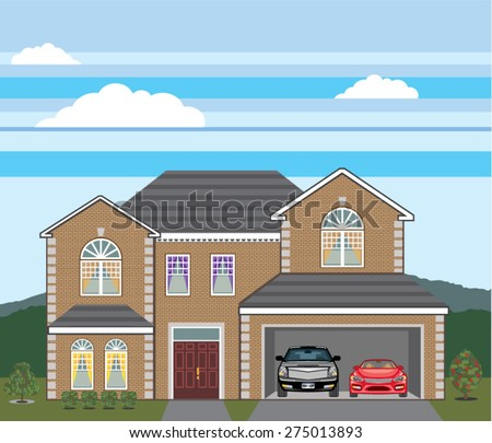 House with open garage. 2 cars, open garage, brick real estate.  - stock vector