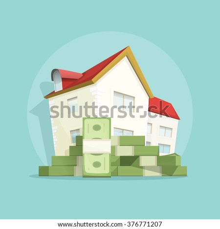 House with pile of money, home real estate symbol, concept of housing bill growth banner, investment, mortgage, house loan, account, banking, outlay expenses modern vector poster design isolated - stock vector