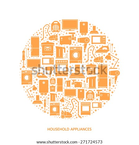 Household appliances flat icons with descriptions. Vector illustration - stock vector