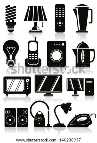 Household appliances icons set. - stock vector
