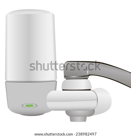 Household filter faucet connection system. Vector illustration. - stock vector