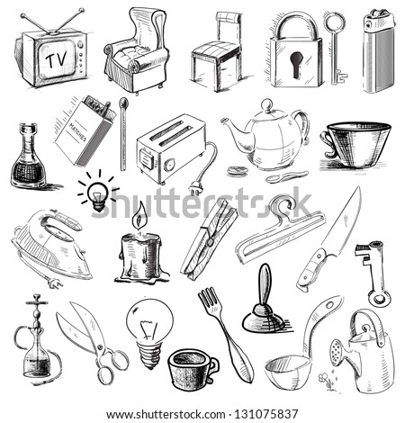 Household home objects collection. Hand drawing sketch vector illustration - stock vector