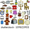 Household items doodle design elements vector illustration - stock vector