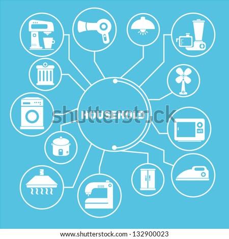 household network template, household info graphics - stock vector