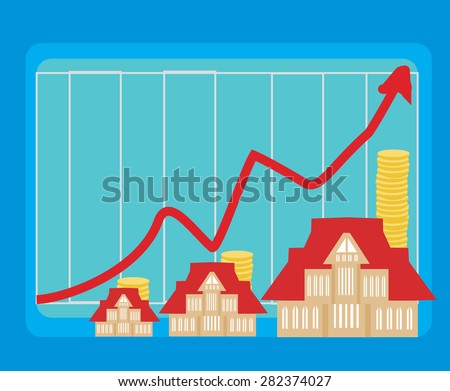 houseing price go up  - stock vector