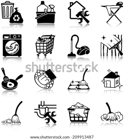 Housekeeping related vector icons / silhouettes - stock vector