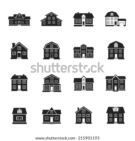 houses and buildings flat vector icons set - stock vector
