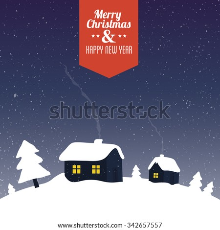 Houses and pine trees covered by snow - stylized winter scene. Christmas greeting card vector illustration. - stock vector