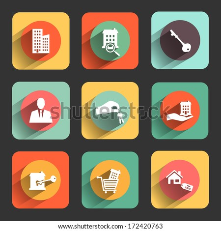 houses and real estate flat design icon set. template elements for web and mobile applications - stock vector