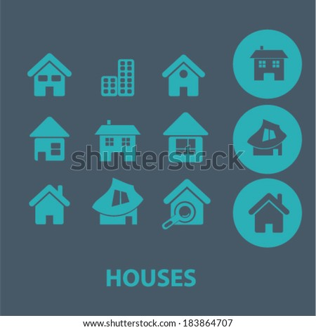 houses flat icons set  for digital web, print, design, mobile phone apps, vector - stock vector