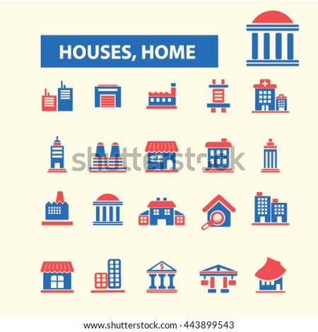 houses, home icons - stock vector