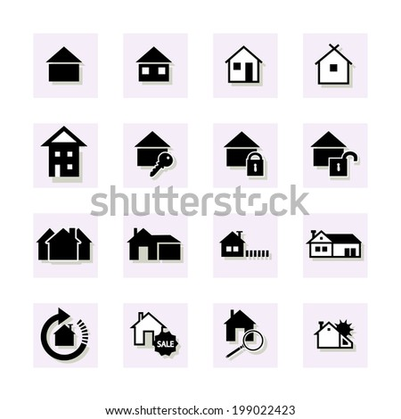 Houses Icon. Black and white. - stock vector