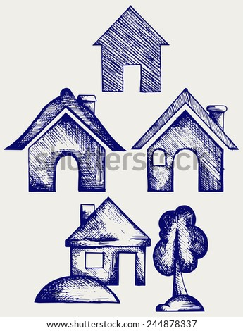 Houses icons set. Doodle style - stock vector