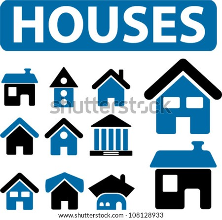 houses icons set, vector - stock vector