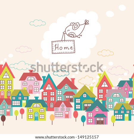 Houses seamless ornament. Cute vector background with doodle cit - stock vector