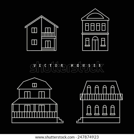 Houses Set drawn white outline on a black background. Vector illustration. - stock vector