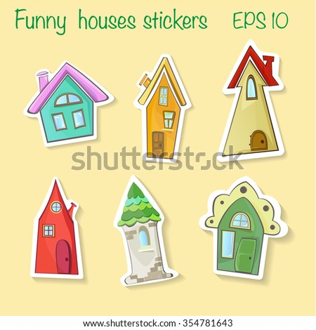 houses stickers vector - stock vector