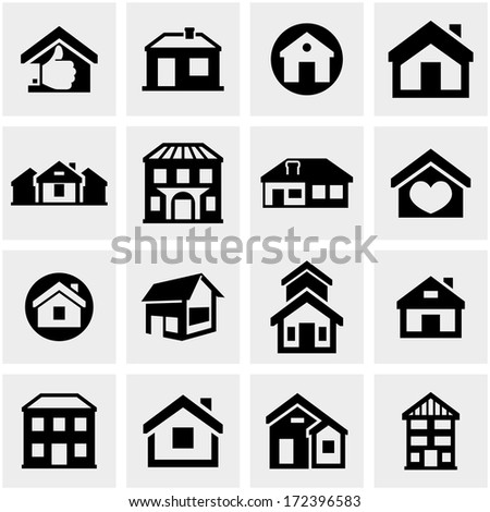 Houses vector icons set on gray - stock vector