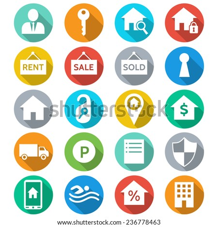 Housing and real estate  flat color icons.   - stock vector